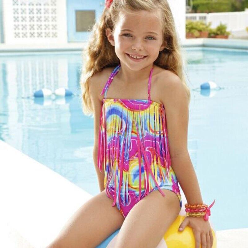 2 pz nuova estate dei bambini costumi da bagno delle ragazze nappa floreale costume da bagno