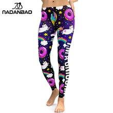 NADANBAO 2019 impreza jednorożec seria legginsy kobiety kolorowy druk cyfrowy Sexy Plus rozmiar legginsy Casual Workout spodnie do fitnessu