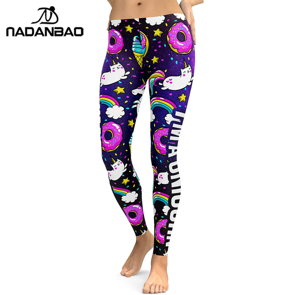 NADANBAO 2019 unicornio serie de fiestas Leggings mujeres coloridas Impresión Digital Sexy talla grande Leggins Casual entrenamiento Fitness Pantalones