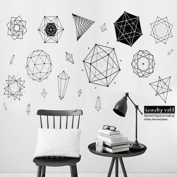 Geometria grafika siebie naklejka na ścianę w klasie pokoju wieloosobowym nauczania wystrój domu dla dzieci pokoje naklejki do sypialni Muraux