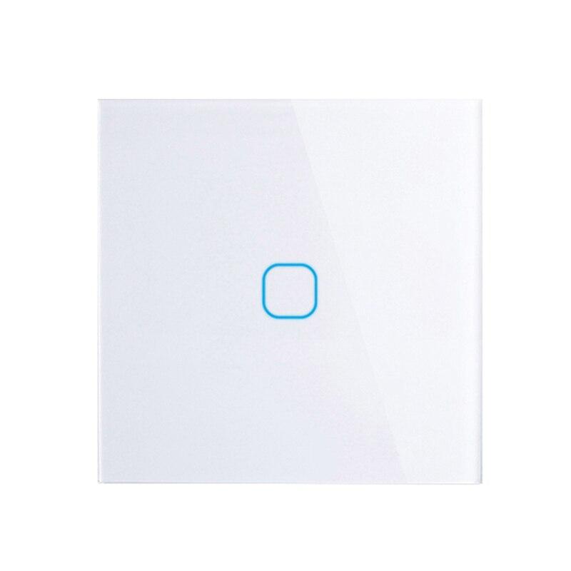 EU/UK standard Touch Schalter Weiß Kristall Glas Panel Touch Schalter, AC220V, EU 1 Gang 1Way Licht Wand Touchscreen Schalter