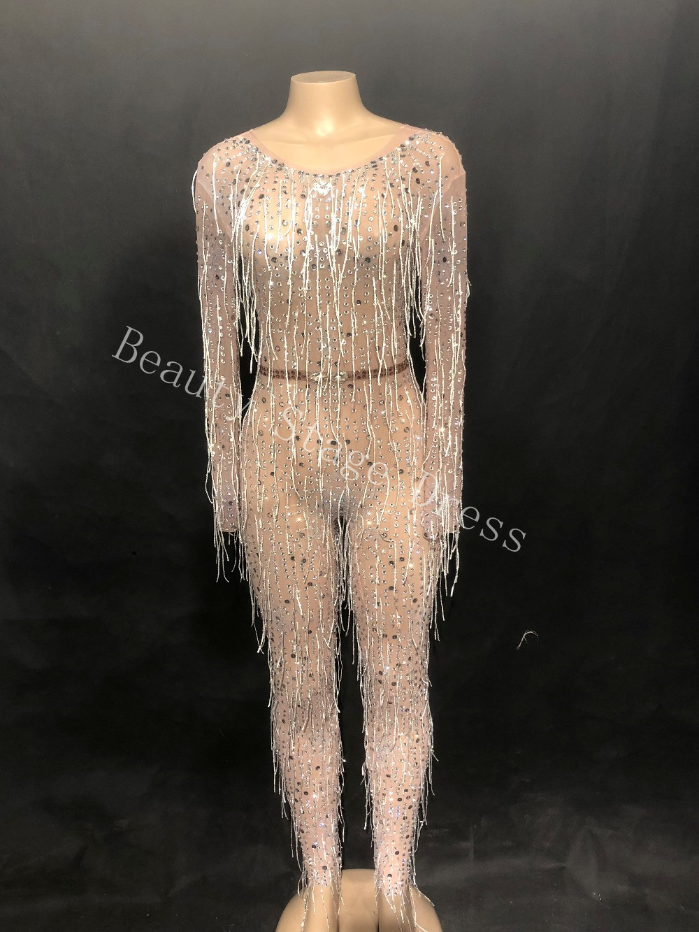 Sparkly Crystals Silver Tassels Jumpsuit Sexy Nightclub Female DJ Singer Costume Prom Party Catwalk Performance Stage Bodysuit in Jumpsuits from Women 39 s Clothing
