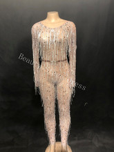 купить Sparkly Crystals Silver Tassels Jumpsuit Sexy Nightclub Female DJ Singer Costume Prom Party Catwalk Performance Stage Bodysuit по цене 8652.35 рублей