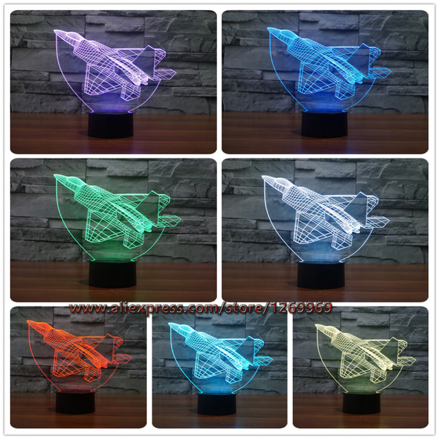 Cool RC Toy 3D aircraft warplanes model creative night light touch jet plane desk lamp LED illusion lamp bedside lamp