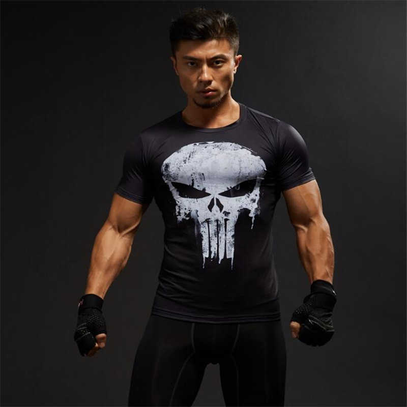 TUNSECHY модные Компрессионные Мужские футболки с 3D принтом, футболки с коротким рукавом для фитнеса, бодибилдинга, мужские топы в стиле панк, череп, скелет