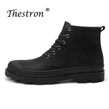 Thestron Men Boots Working Safety Shoes Large Size 46 47 Winter Fur Warm Motorcycle Boots Male Leather Tactical Boots Military pinsv military boots men winter shoes warm men leather boots footwear cowboy tactical boots men shoes winter boots size 38 48