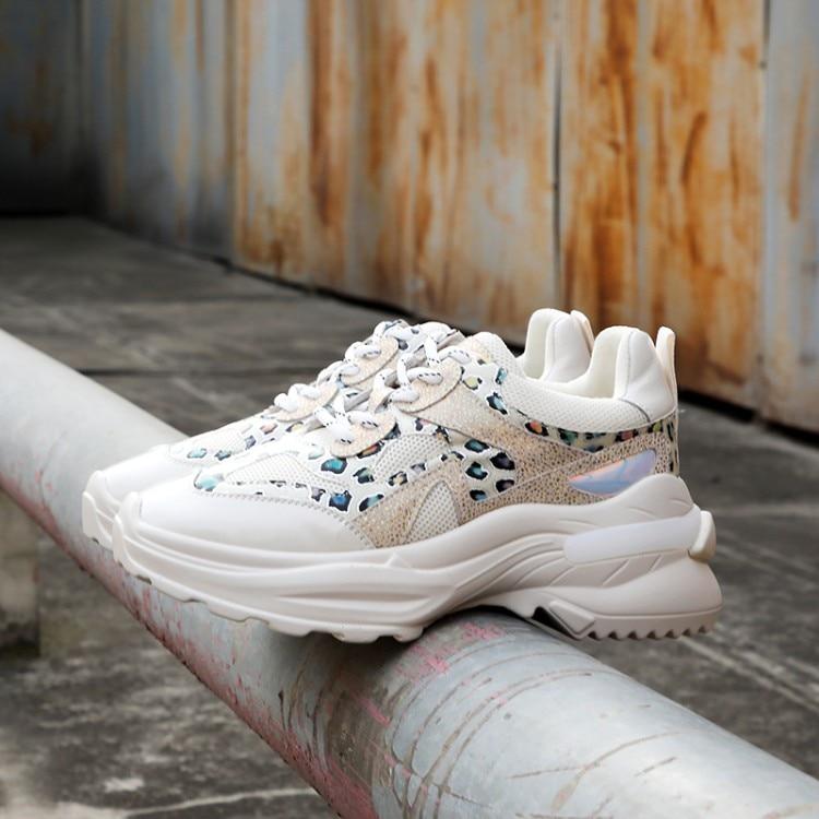 Taille Femmes Plate Nouveau Beige Chaussures De Grande Papa noir Impression forme Printemps 2019 Loisir Léopard Baskets D29eWHIbEY