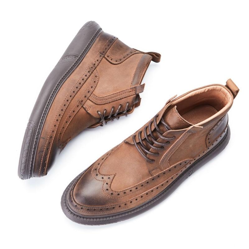 Lace Homens brown De E Clássico Preto Masculino Botas Novas Bota Marca Sapatos Altura up Da Moda Confortável Mycolen Crescente Masculina Inverno Macio Bullock tBFXzwqqx