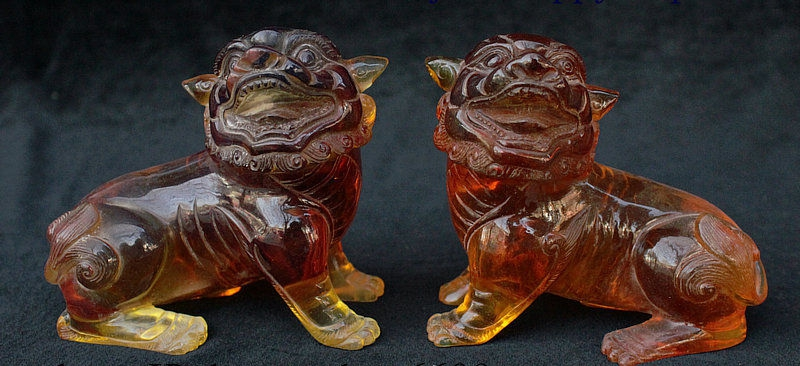 China Feng Shui Old jade Gilt Carved brave troops Pixiu beast wealth statue Pair