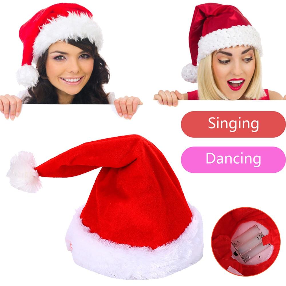 2018 nuevo Navidad Santa sombrero eléctrica bailando cantando peluche juguete regalo drop compras otc06