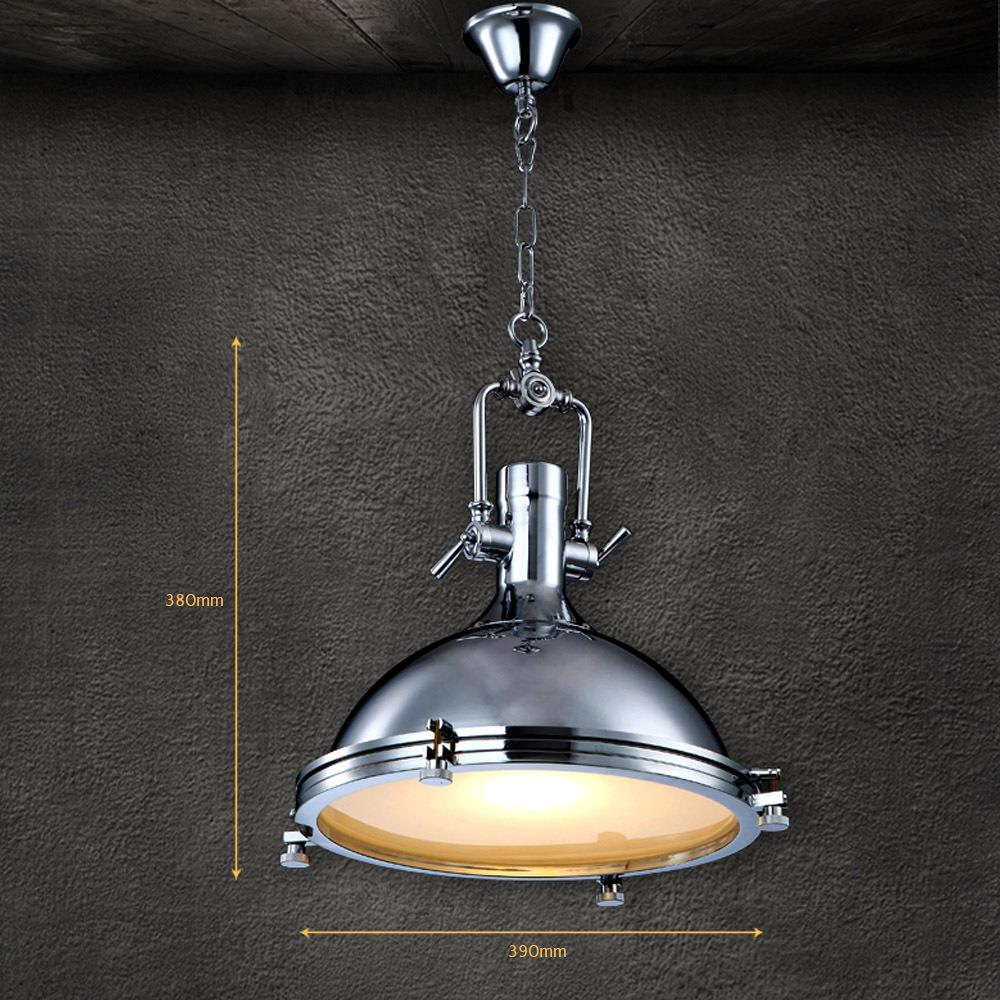 Modern Retro Industrial Loft Pendant Light Vincent Chrome Country ...