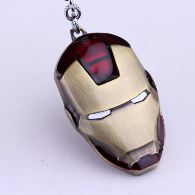 Marvel Super Hero The Avengers Iron Man Mask Metal Keychain Pendant Key Chain