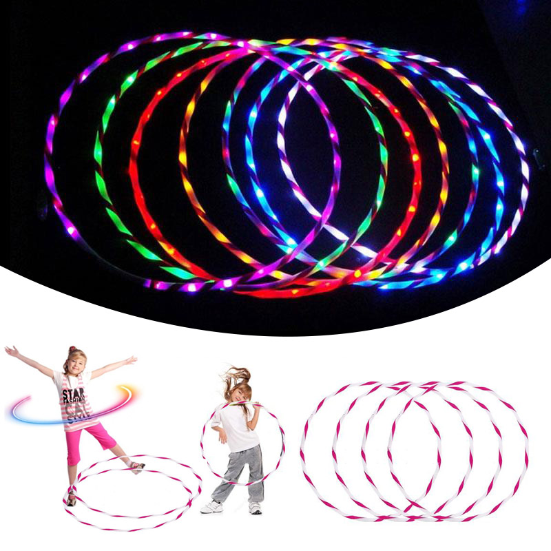 90CM LED Glow Hula Hoop Performance Hoop Sports Toys Loose Weight Toys Kids Light Up Toys Free Shipping
