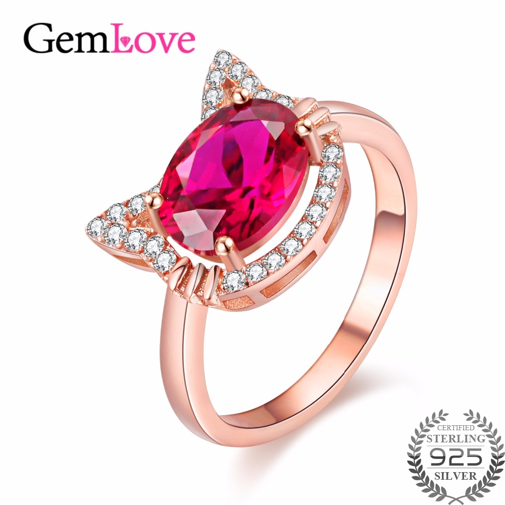 Gemlove Cute 925 Sterling Silver Wedding Ring Red Corundum Created ...