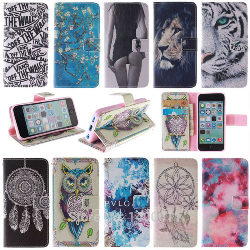 Painting Leather Cover <font><b>Case</b></font> for APPLE <font><b>iPhone</b></font> 5 SE <font><b>5c</b></font> 5s 6 6s 5 c Mobile Phone <font><b>Cases</b></font> <font><b>Wallet</b></font> Stand Design With Card Holder image
