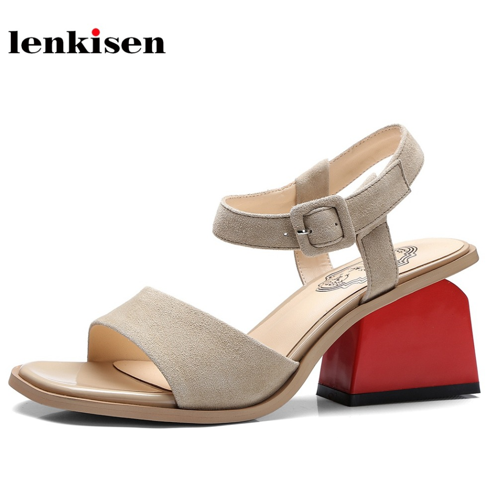 Lenkisen 2018 summer buckle straps solid peep toe causal beach shoes shopping simple style med heels fashion women sandals L55 2018 new popular gladiator style cow leather peep toe ankle straps fashion women med heel sandals summer brand causal shoes l80