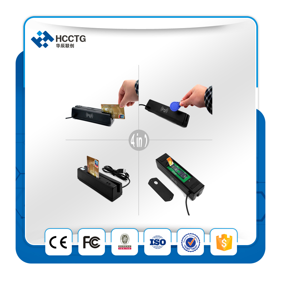 4 dans un ISO14443 Magnétique Lecteur de Bande IC lecteur de cartes 13.56 MHz RFID Carte PSAM Combo Lecteur HCC110