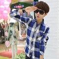 T китай дешевые оптовая 2016 весна Осень новый Популярное молодежное мужской тонкий моды случайный с длинными рукавами плед рубашку мужчины одежда