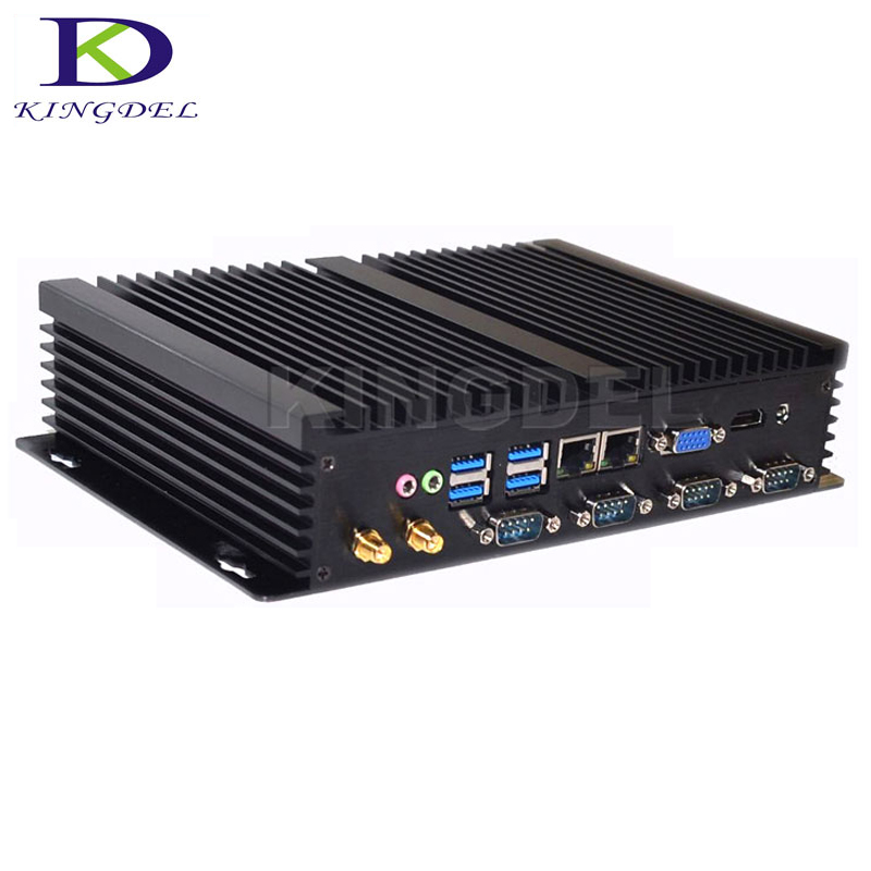 Kingdel Chaude Double NIC Sans Ventilateur Mini PC Intel Celeron 1037U Dual Core Windows 10 Linux Ubuntu Ordinateur Industriel avec 4 * RS232