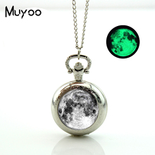 2017 New Glowing in the Dark Vintage Bronze Silver Pocket watch Necklace Full Moon Pendant Pocket Watch Glow Necklaces