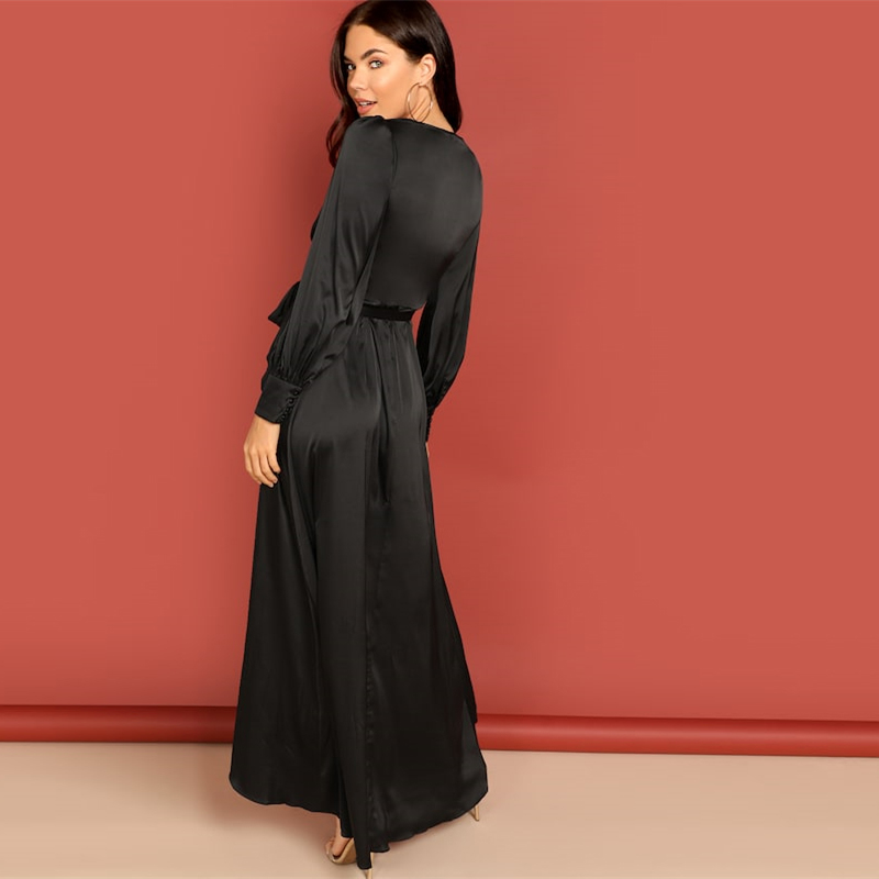 Black Knot Long Sleeve High Waist Wrap Split Maxi Dress