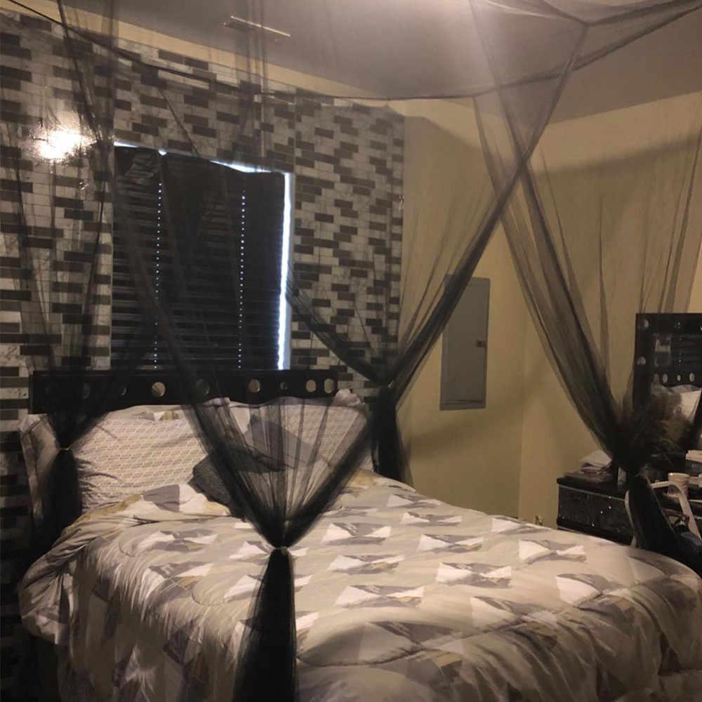 4 פינה מיטת חופה יתושים נטו 190x210x240 cm אירופאי סגנון למיטה זוגית שינה קישוט רומנטי תליית מיטת אלאנס