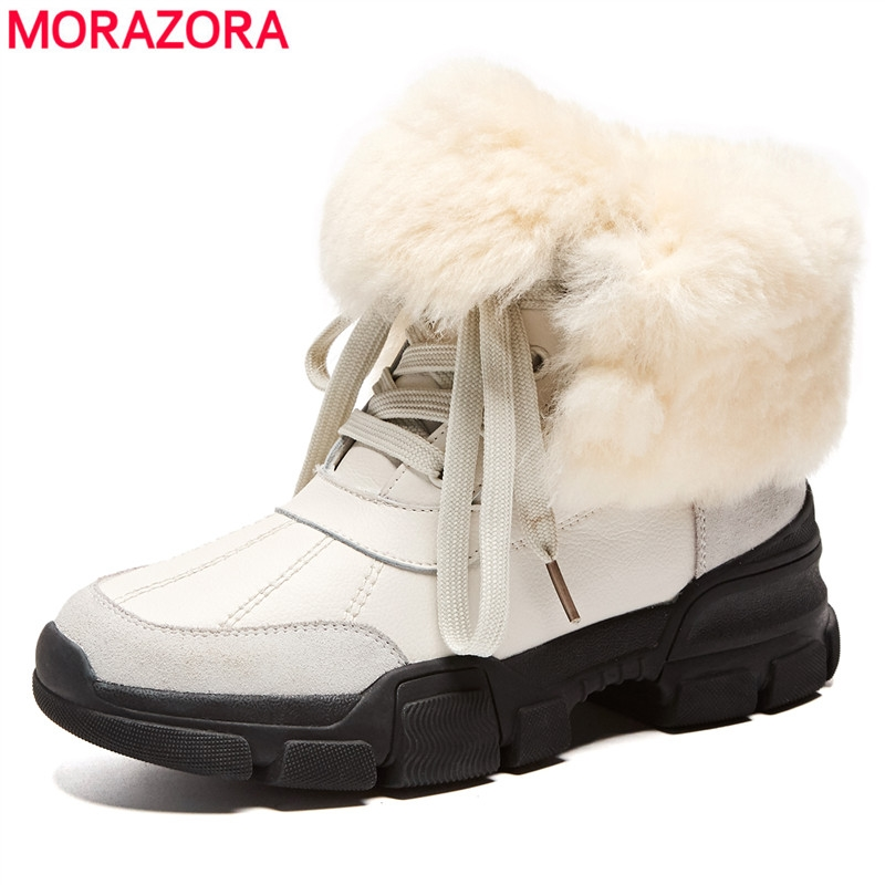 MORAZORA Size 35-42 New Genuine leather ankle boots lace up platform shoes women winter boots fashion thick wool fur snow bootsMORAZORA Size 35-42 New Genuine leather ankle boots lace up platform shoes women winter boots fashion thick wool fur snow boots