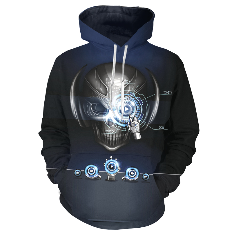 YOUTHUP 2018 New Design Hooded Hoodies Long Sleeve Jacket 3D Print Machine Skull Pullover Punk Rock Men 3d Hoodies Plus Size