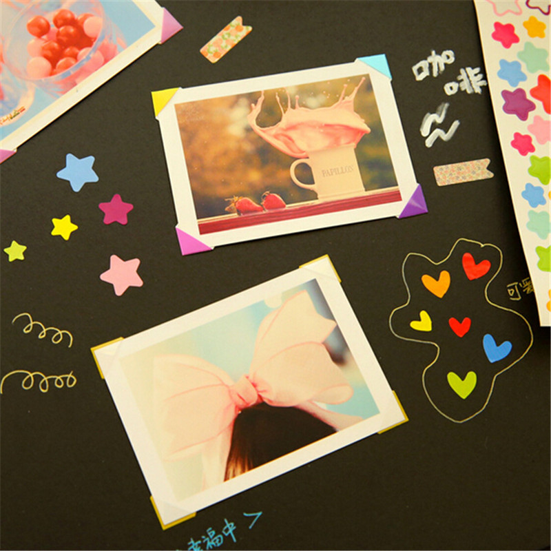 2sets of 204pcs DIY Scrapbook Paper Photo Albums Frame Picture Decoration Corner Stickers pvc (102pcs/set) image