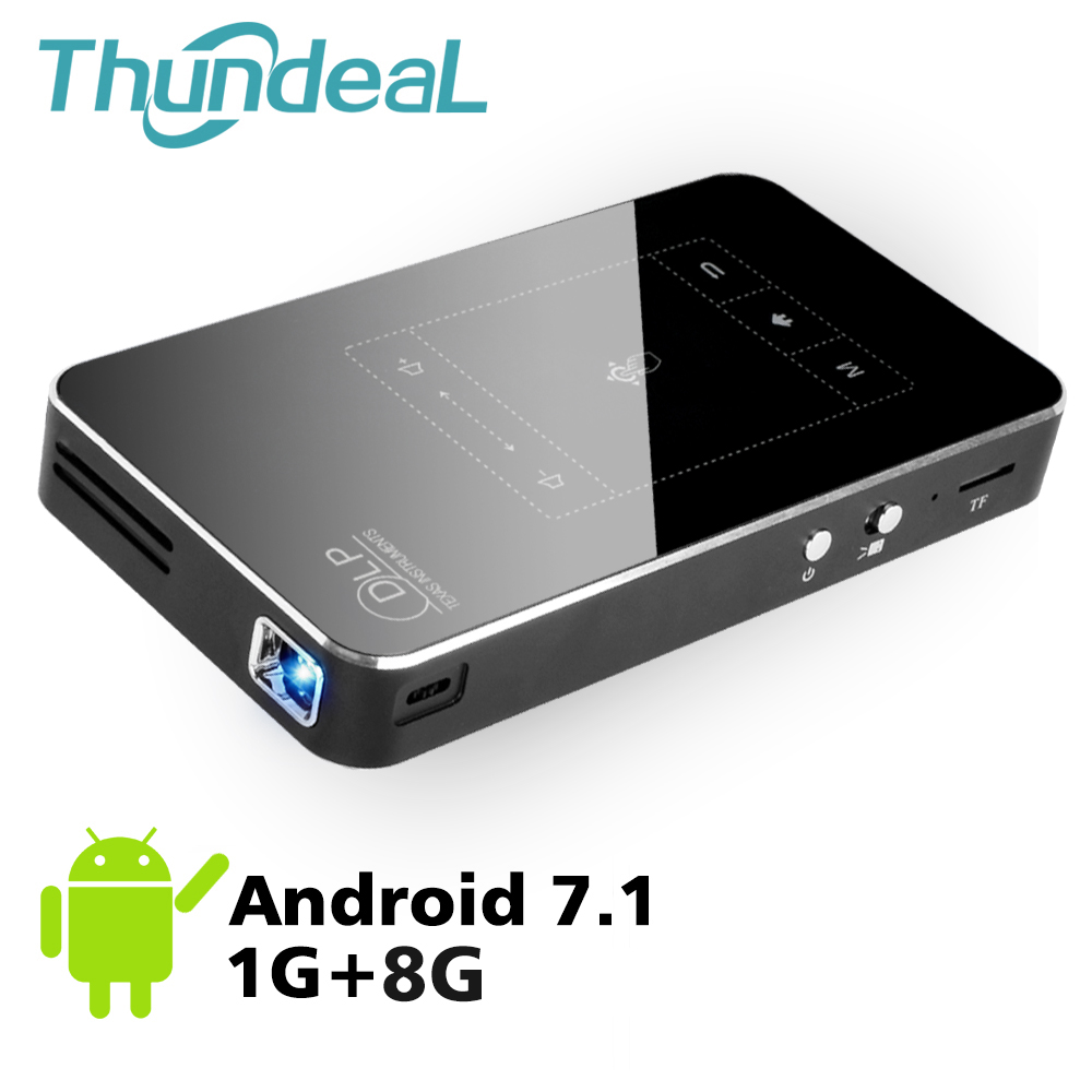 Thundeal Mini Projector Pocket Touch-Pad Bluetooth Wifi DLP P8I Android 7.1 4k Pico T18