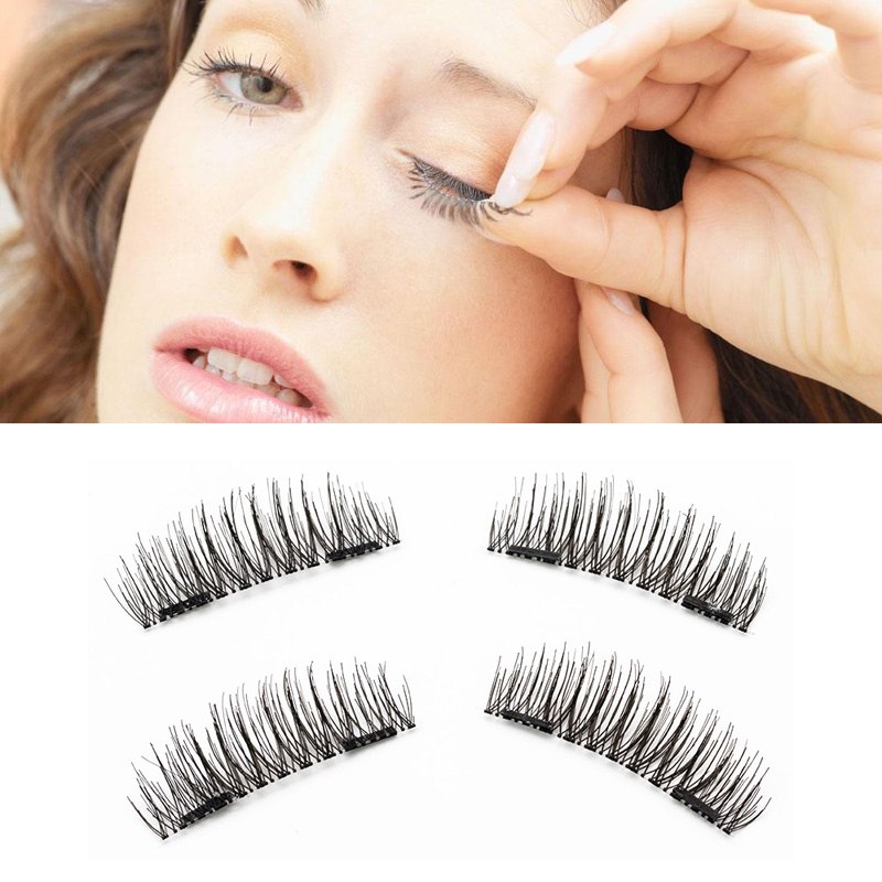 4pcs Pair 3D False Eyelashes Double Magnetic Natural Individual Thicker Cross Fake Eyelashes Magnet Lashes Makeup Dropship