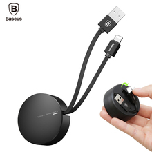 Baseus Retractable USB Cable For iPad iPhone X 5 6 7 8 Fast Charging Cable 2A Mobile Phone Data Cable Portable USB Charger Cable(China)