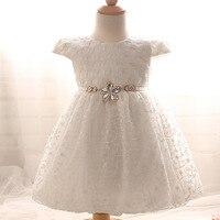 Sommer baby prinzessin kleider blume perle bestickt Mädchen Kleid Taufe Kleid großhandel 0-2 jahre alt