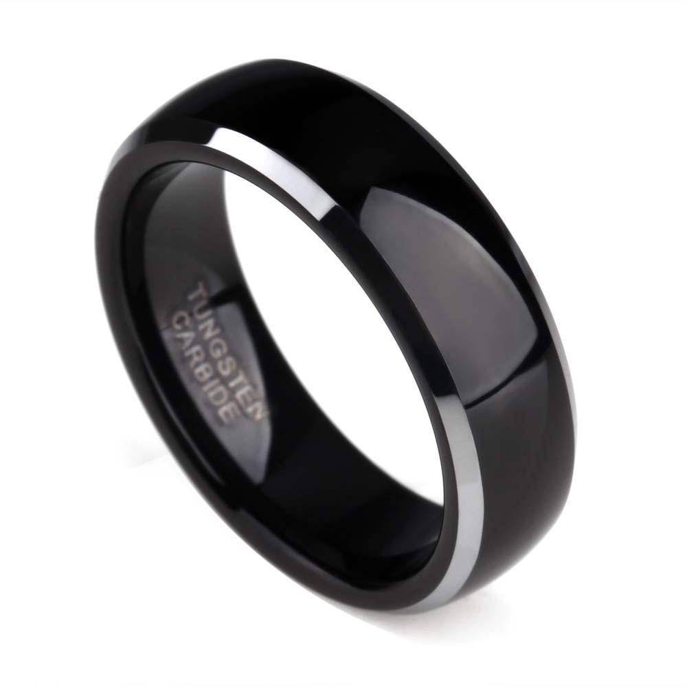 Bling Jewelry Simple c/úpula Parejas Negro Banda de Boda Anillos de tungsteno para Hombres y para Mujeres Comfort FIT 4MM