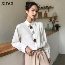 [Xitao] 봄 2019 서양식 여성 블라우스 캐주얼 한국 패션 새로운 풀 슬리브 솔리드 컬러 싱글 브레스트 셔츠 dll2426