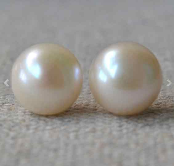 Charming Natural Pearl 925 Silver Sterling Stud Earrings,White 11.5-12mm Huge Freshwater Pearls Earring,Fashion Lady's Gift