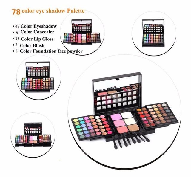 78 Color Nude Maquillaje 48 Mate Shimmer Eyeshadow Palette + 24 brillo de Labios + 6 Fundación face powder/Blush Cosméticos Kit # TL78
