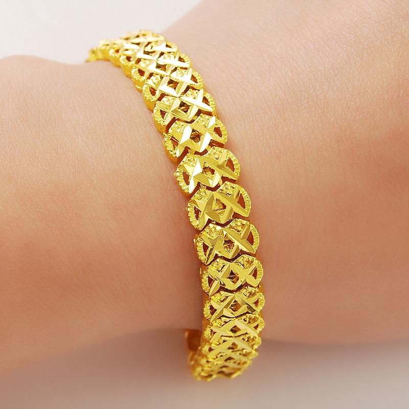 629a365ee3c6a جديد مختوم نمط خمر الكلاسيكية 24 كيلو الذهب سلسلة أساور للنساء الرجال  الذكرى خطوبة مجوهرات هدايا
