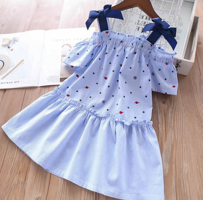 5-12Y Teens Girl Dress 2019 Summer Girl Fashion Blue Star Print Cotton Strap Party Tutu Dress Costumes For Children Kids Clothes
