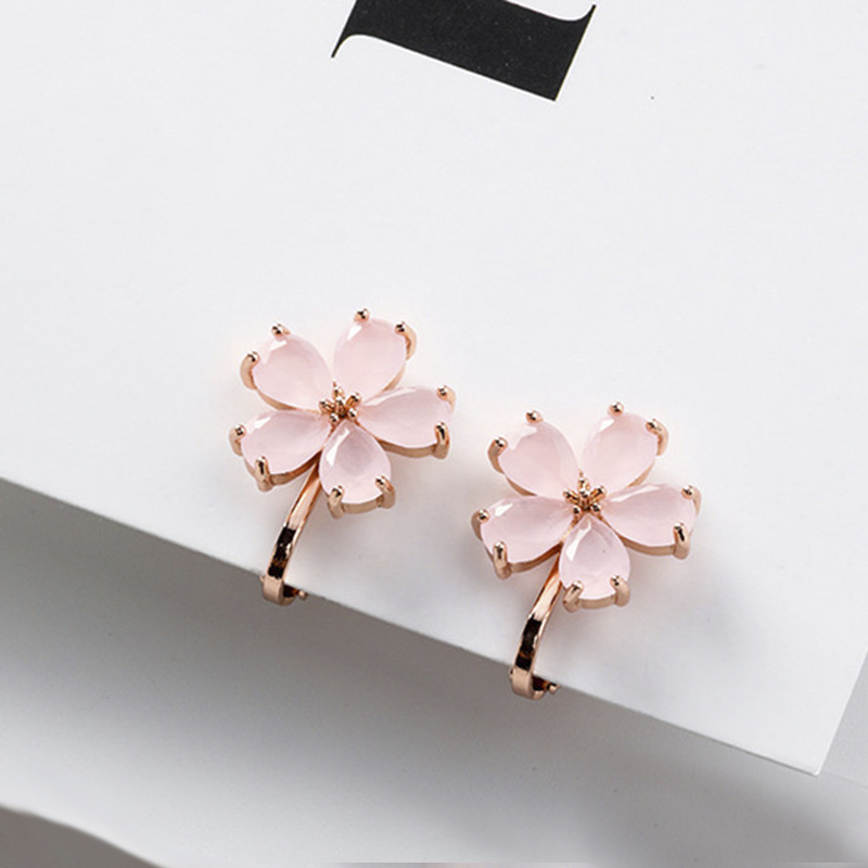 New Korean Lovely Tiny Bowknot Crystal Flower Ear Clip Temperament Women Girls Earrings Without Pierced Pendientes EC1168
