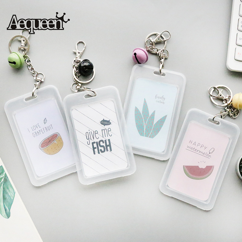 AEQUEEN Transparent ID Card Holders with Keychain Name Business Card ...