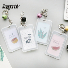 Buy business card keychain and get free shipping on aliexpress aequeen transparent id card holders with keychain name business card wallets women cute cartoon bank credit colourmoves