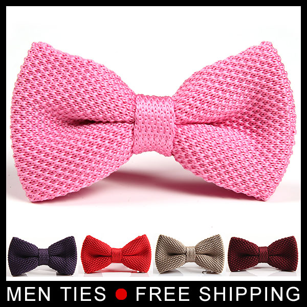 Fashion Men NeckTies Tuxedo Knitted Bowtie Soild Color Bow Tie Thick Double Deck Pre Tied Adjustable Knitting Casual