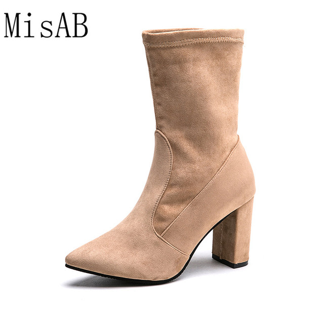 fbf6cb05cdf US $19.6 |fashion women boots high heels winter autumn women mid calf boots  black nude faux suede Socks boots Thick heel women shoes ALF60-in Mid-Calf  ...