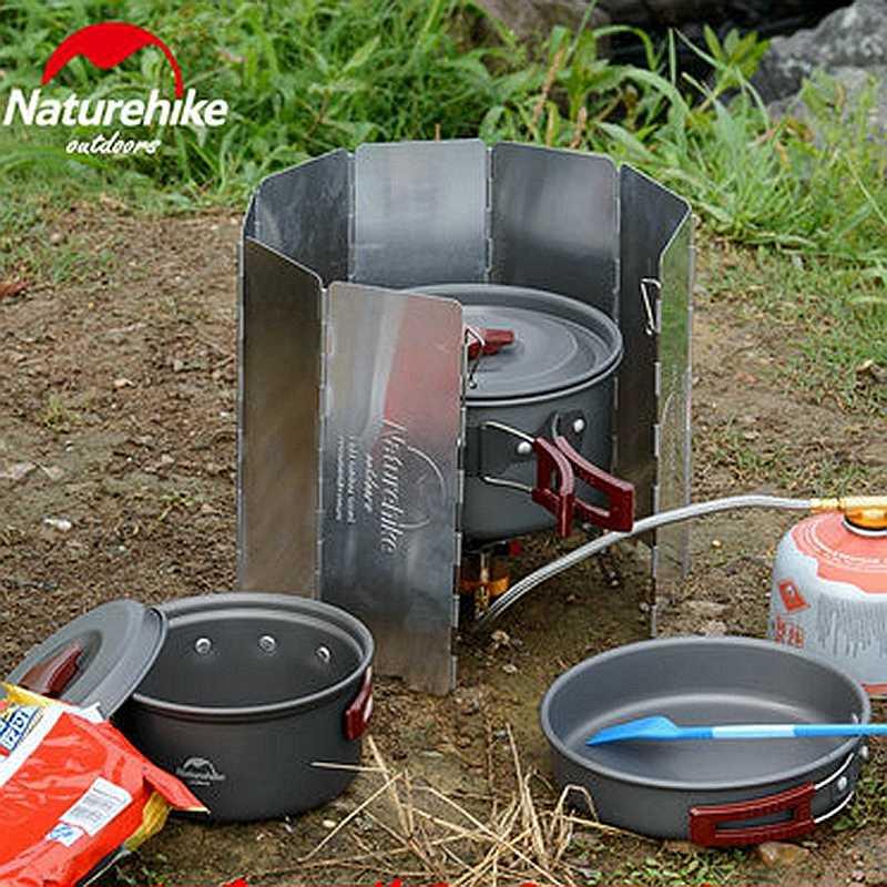 をnaturehikeキャンプストーブウインドスクリーン折りたたみ調理フロントガラス屋外ガスストーブ調理アクセサリー防風屏風