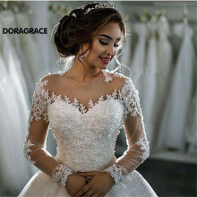 New Arrival Romantic Applique Beaded A Line Long Sleeve Wedding Gowns Designer Dresses DG0118