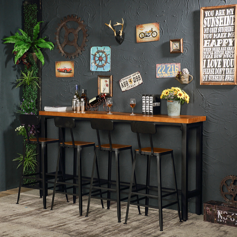 New European Bar Stool Solid Wood Bar Stool Home Retro Back Lift Rotating High Stool Front Cashier Bar Chair