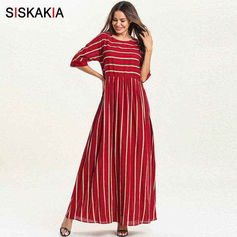 9eef91ab3c723 US $17.99 46% OFF|Siskakia Women Long Dress Red Striped Patchwork Maxi  Dresses Spring Summer 2019 Elegant Round Neck 3/4 Sleeve Casual Clothing-in  ...