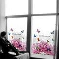 60*58 cm Esmerilado Opaco Colorida Flor de Mariposa Stained Glass Window Film Pegatinas Decorativas De Vidrio Baño puerta Corredera