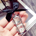 Free Shipping Fashion retro Exaggerated party Long Crystal Necklace jewelry for women sand clock crystal necklace bowknot